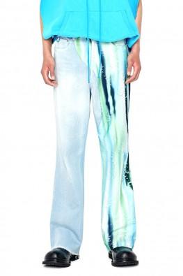 Graphic Print Denim Pants