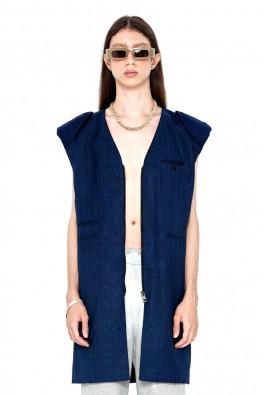 Check Padded-shoulder Sleeveless Jacket