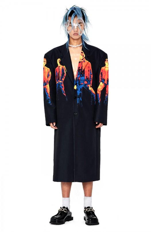 Infrared Print Long Coat
