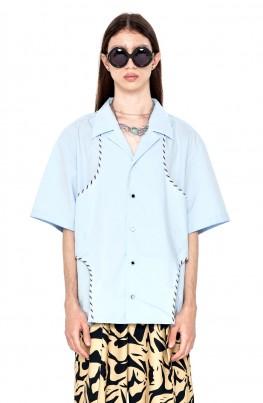 Cut-Out Short-Sleeved Shirt