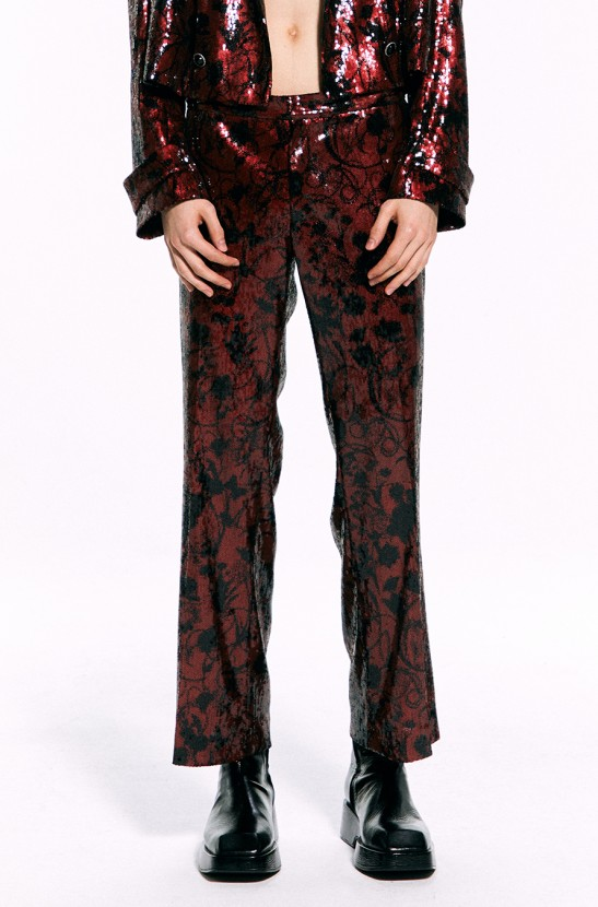 Sequined Bootcut Pants