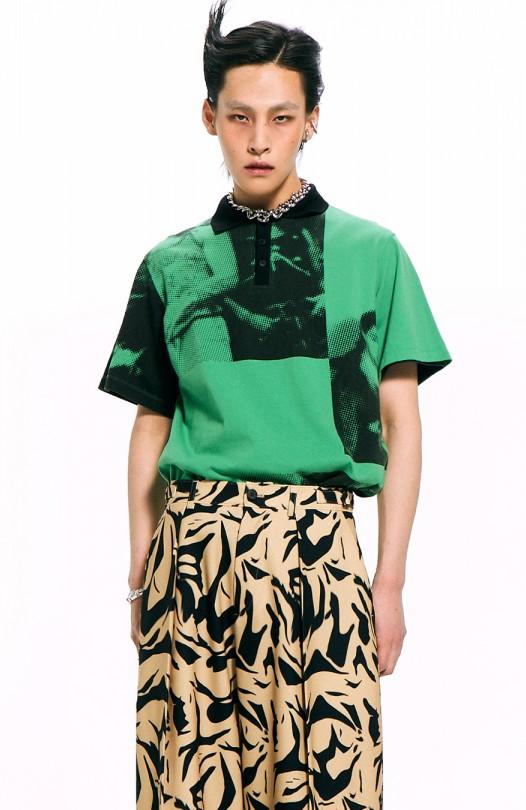Art Print Polo Shirt / Green