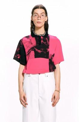 Art Print Polo Shirt / Pink