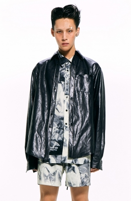 Navy Faux Leather Shirt