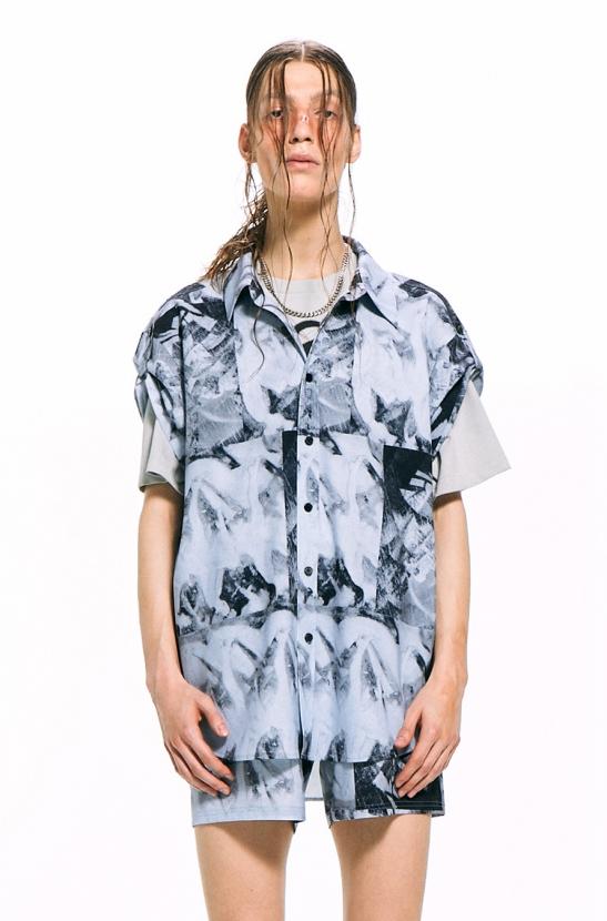 Mono Print Short-Sleeved Shirt / Blue