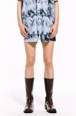 Mono Print Shorts / Blue