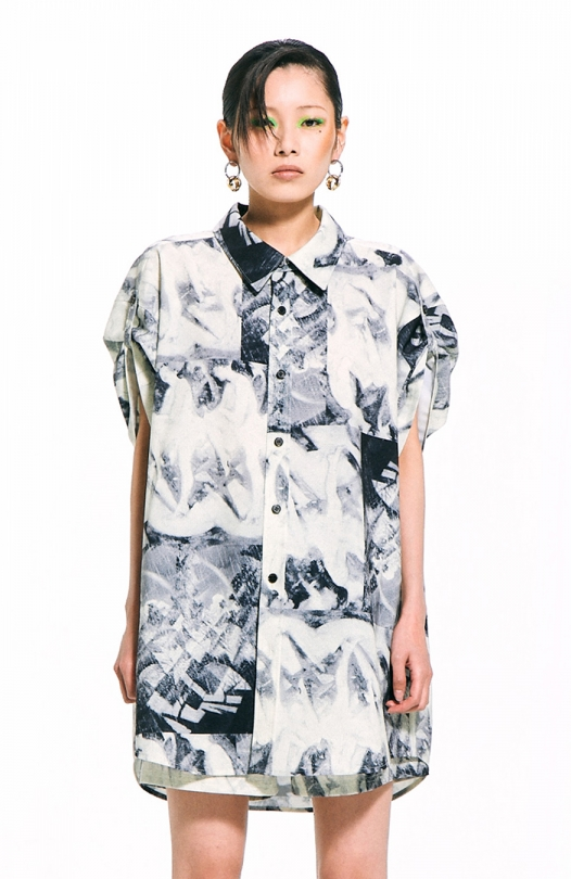 Mono Print Short-Sleeved Shirt / Yellow