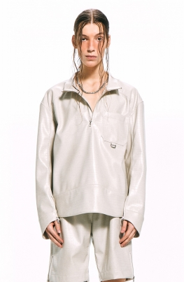 Faux Leather Anorak