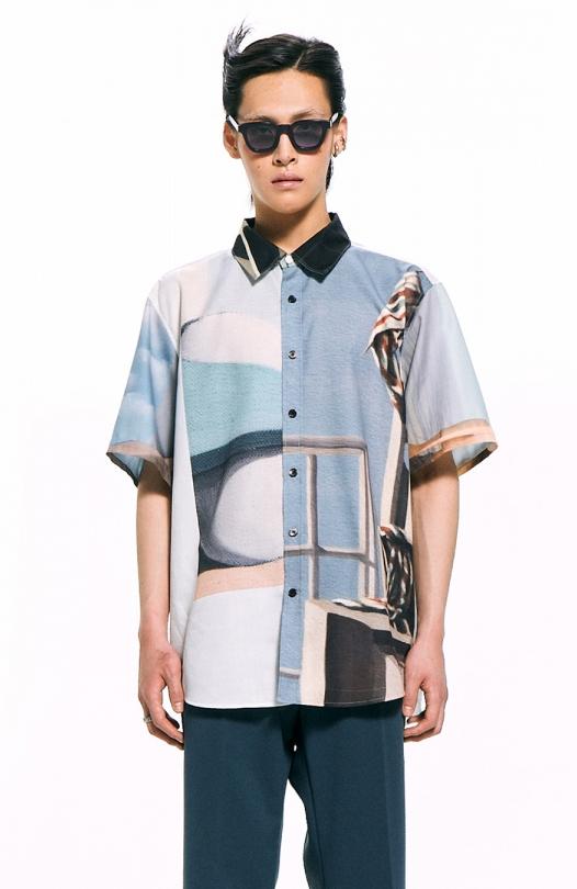 Sage Print Short-Sleeved Shirt