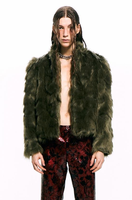 Khaki Faux Fur Jacket